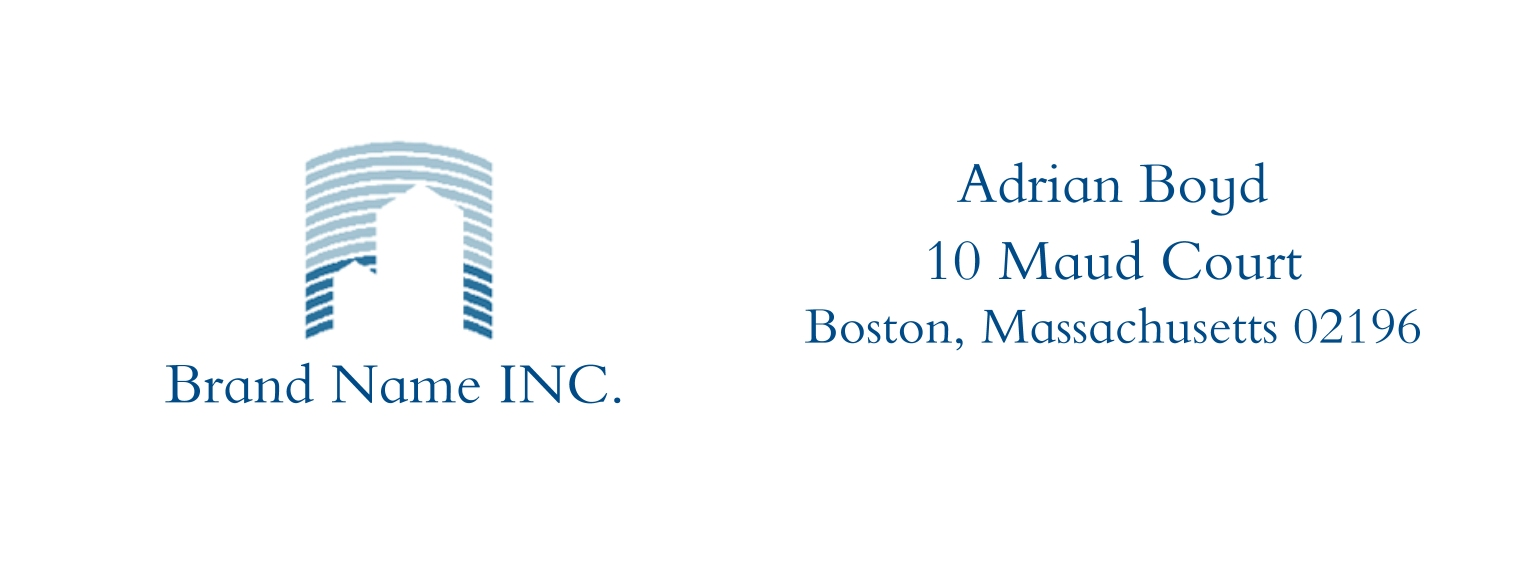 Residential & Commercial Business Address Labels, Set of 36, Business Printing -Blue Linear Buildings