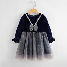 Toddler Girls Mesh Panel Bow Front Velvet Dress