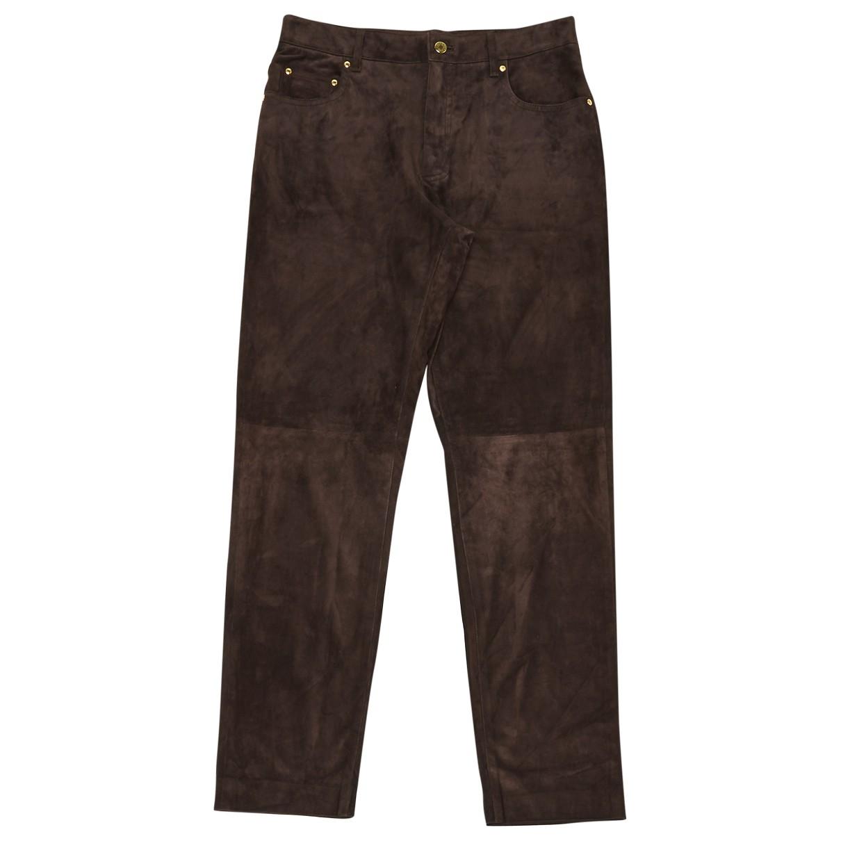 Hermès \N Brown Suede Trousers for Women 42 FR