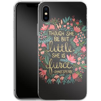 Apple iPhone X Silikon Handyhuelle - Little But Fierce Charcoal von Cat Coquillette