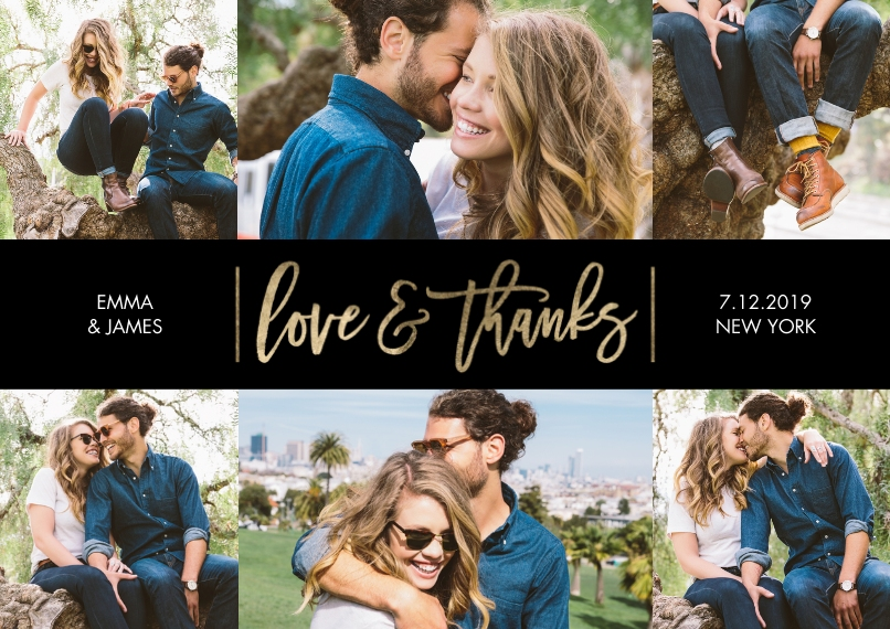 Wedding Thank You 5x7 Cards, Premium Cardstock 120lb, Card & Stationery -Thank You Shining Gold