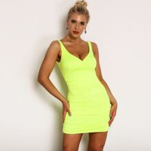 Neon Yellow Ruched Detail Satin Bodycon Dress