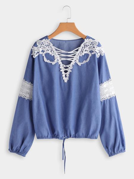 Yoins Blue Lace Details V-neck Long Sleeves Drawstring Waist Blouse