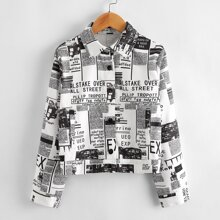 Girls Newspaper Print Single Breasted Placket Jacket