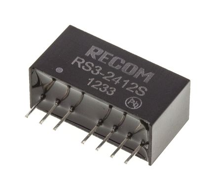 Recom RS3 3W Isolated DC-DC Converter Through Hole, Voltage in 18 → 36 V dc, Voltage out 12V dc