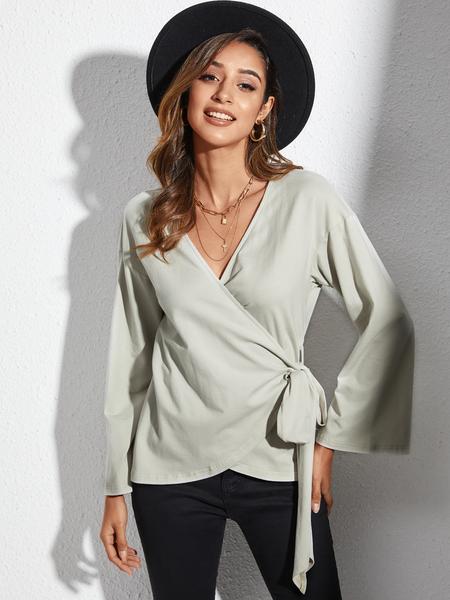 Yoins Grey Wrap Design V-neck Bell Sleeves Top
