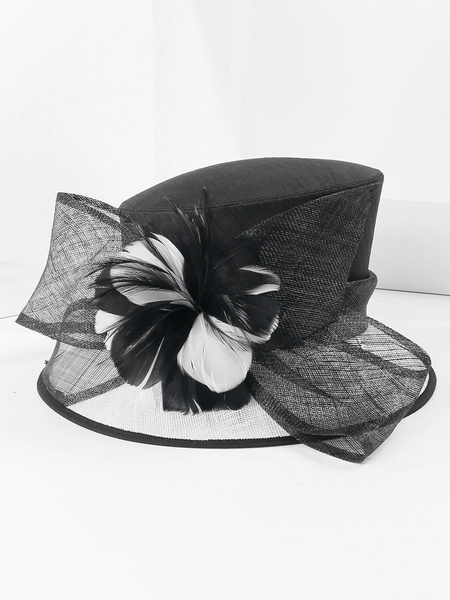 Milanoo Royal Vintage Hat Brown Women Flowers Headpieces Retro Top Hat