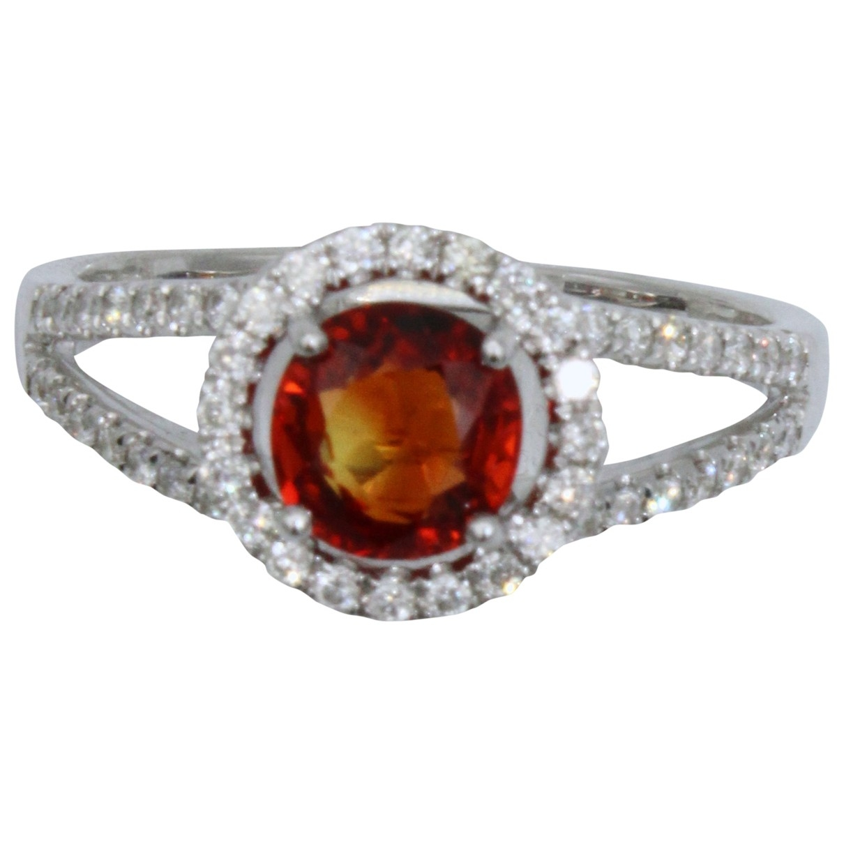 Non Signe / Unsigned Saphir Ring in  Rot Weissgold