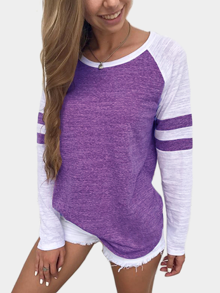 Yoins Purple Spell Color Round Neck Long Sleeves T-shirt