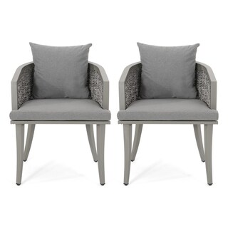 Pebble Outdoor Boho Wicker Club Chair with Cushions (Set of 2) by Christopher Knight Home (Multi Light Gray+Gray)