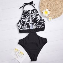 Tropical Cut-out Halter One Piece Swimsuit
