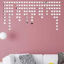 100 Stuecke Wandaufkleber mit Herzen Muster und Spiegelblocke