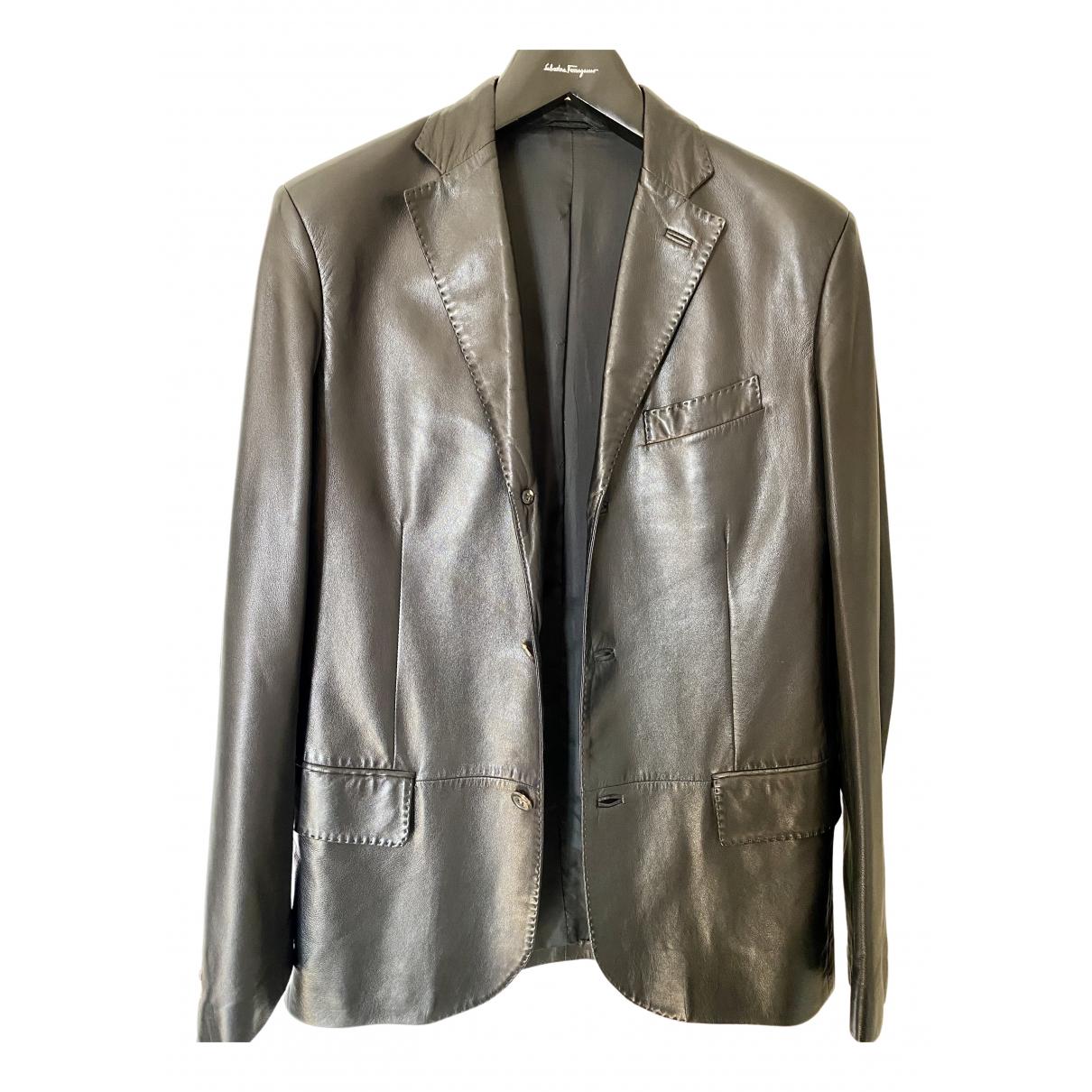 Salvatore Ferragamo N Black Leather jacket  for Men 48 IT