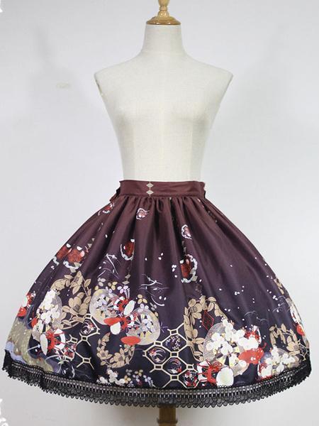 Milanoo Kimono Lolita Skirt Hone Onna In Haunted Night Neverland Lace Trim Pleated Lolita Skirt Original Design