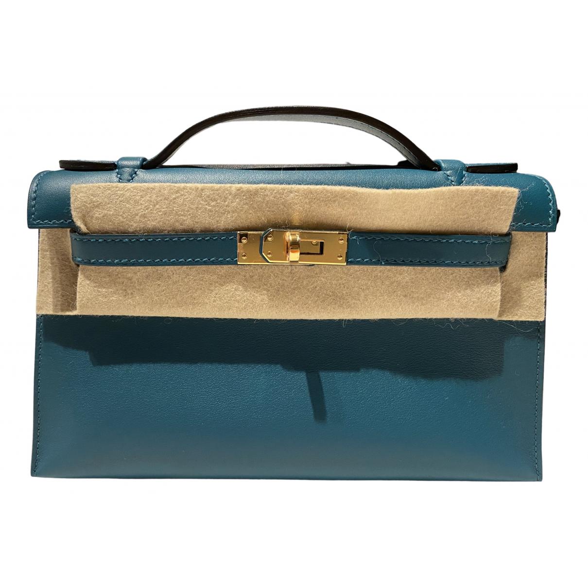 Hermes - Pochette Kelly Clutch pour femme en cuir - vert