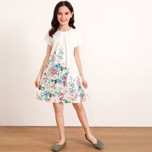 Girls Pleated Detail Floral Print Trapeze Dress