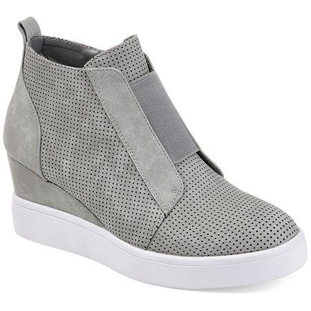 Journee Collection Womens Clara Wedge Sneaker, 8 Medium, Gray