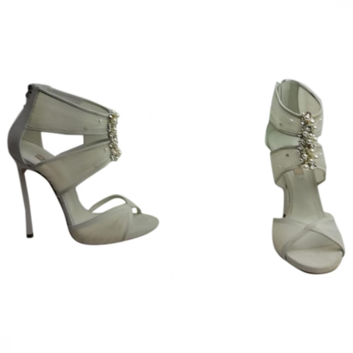 Casadei \N White Cloth Sandals for Women 37 EU