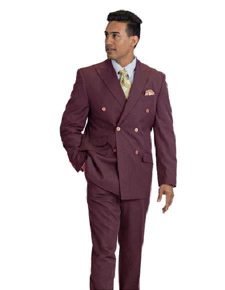 Men's Wool Feel Burgundy Pinstripe Suit