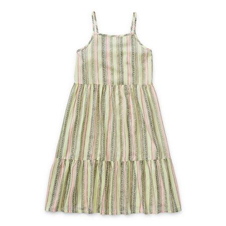 Arizona Little & Big Girls Sleeveless A-Line Dress, Large (14) , White