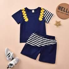 Toddler Boys Cartoon Striped Tee & Shorts