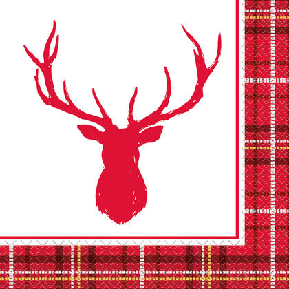 Plaid Deer Christmas Luncheon Napkins, 16ct - No Text