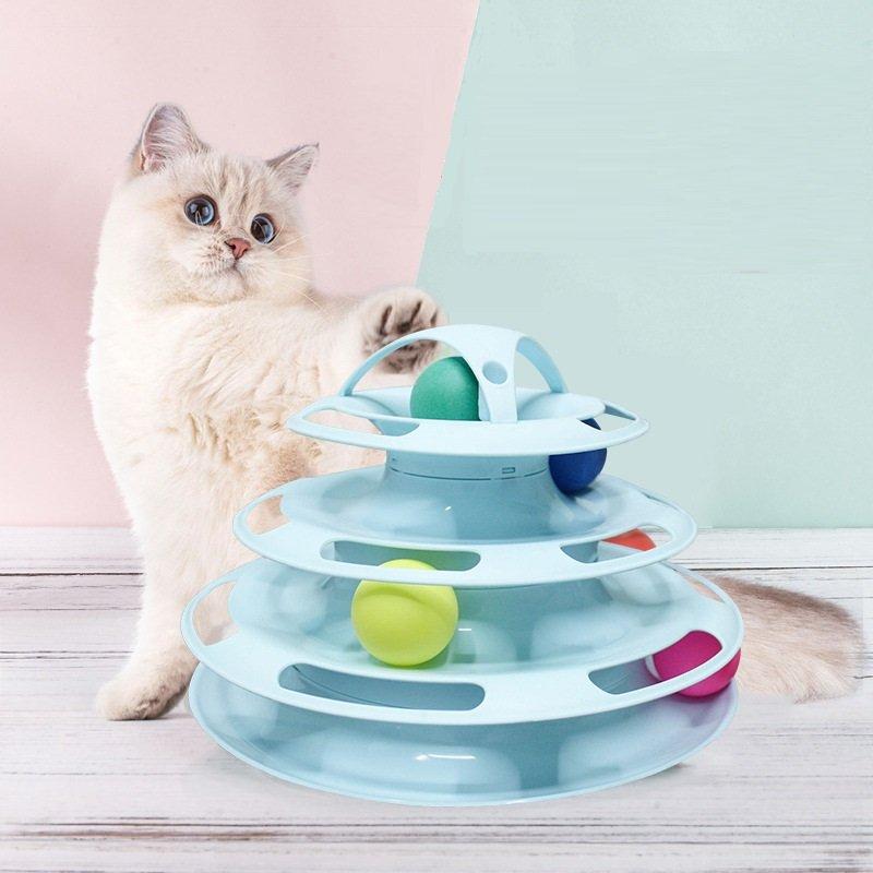 4 Layers Pet Cat Training Ball Turning Plate Toy Kitten Entertain Balls Turning Toy