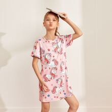 Girls Unicorn Print Nightdress