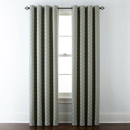 Liz Claiborne Quinn Lattice Room-Darkening Grommet Top Single Curtain Panel, One Size , Green