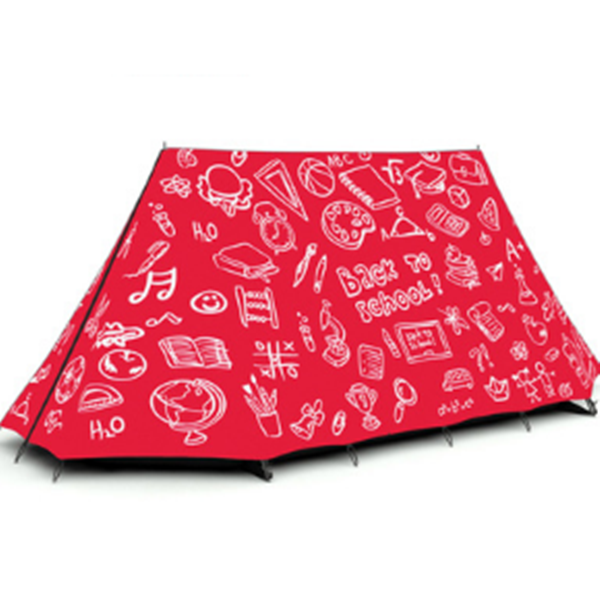 3-Person Pencil Drawing Pattern Windproof Quick-Set up Outdoor Waterproof Camping Tent