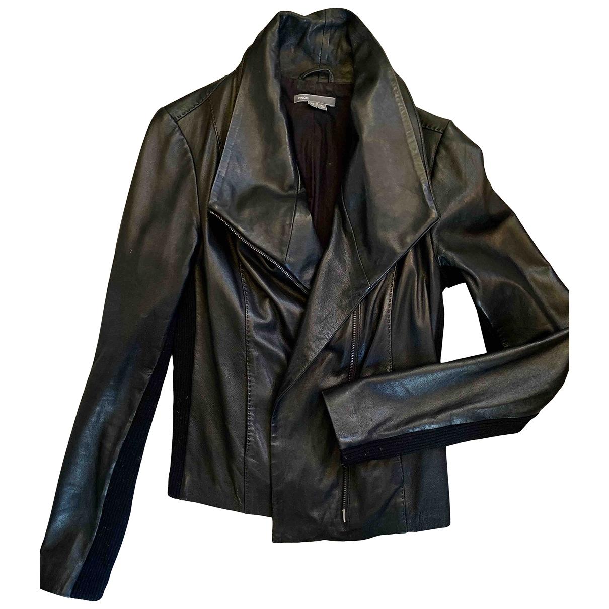 Vince - Blouson   pour femme en cuir - noir