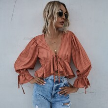 Tie Front Ruffle Hem Striped Top