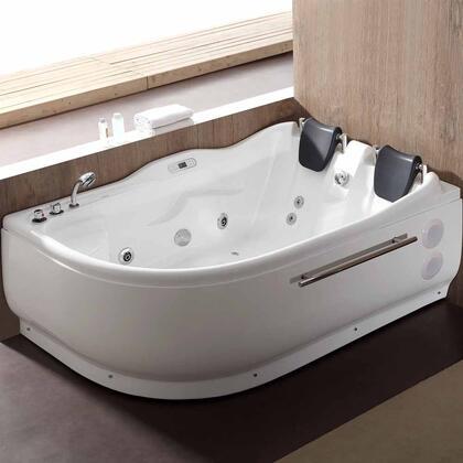AM124ETL-L 6 ft Left Corner Acrylic White Whirlpool Bathtub for