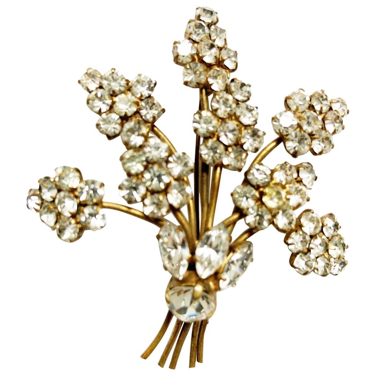 Non Signe / Unsigned Motifs Floraux Brosche in  Gold Metall
