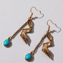 Turquoise Decor Drop Earrings