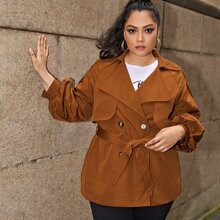 Plus Notched Collar Buttoned Front Self Belted Trench Coat
