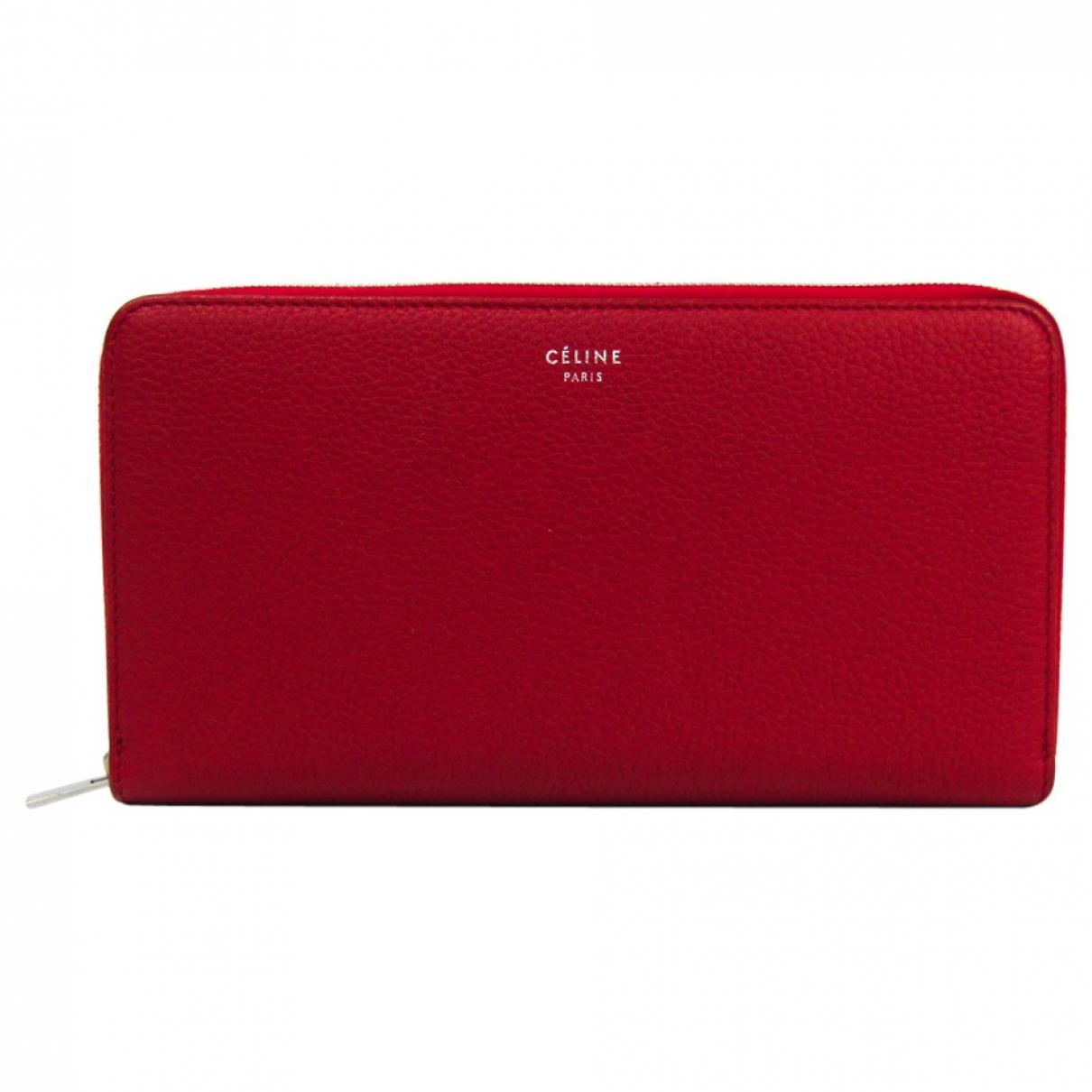 Celine - Portefeuille   pour femme en cuir - rouge