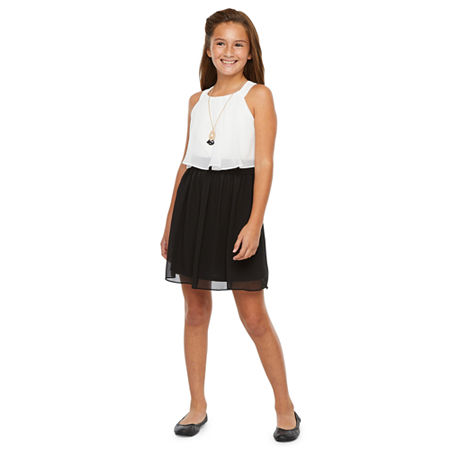 by&by girl Big Girls Sleeveless Skater Dress, 10 , Black