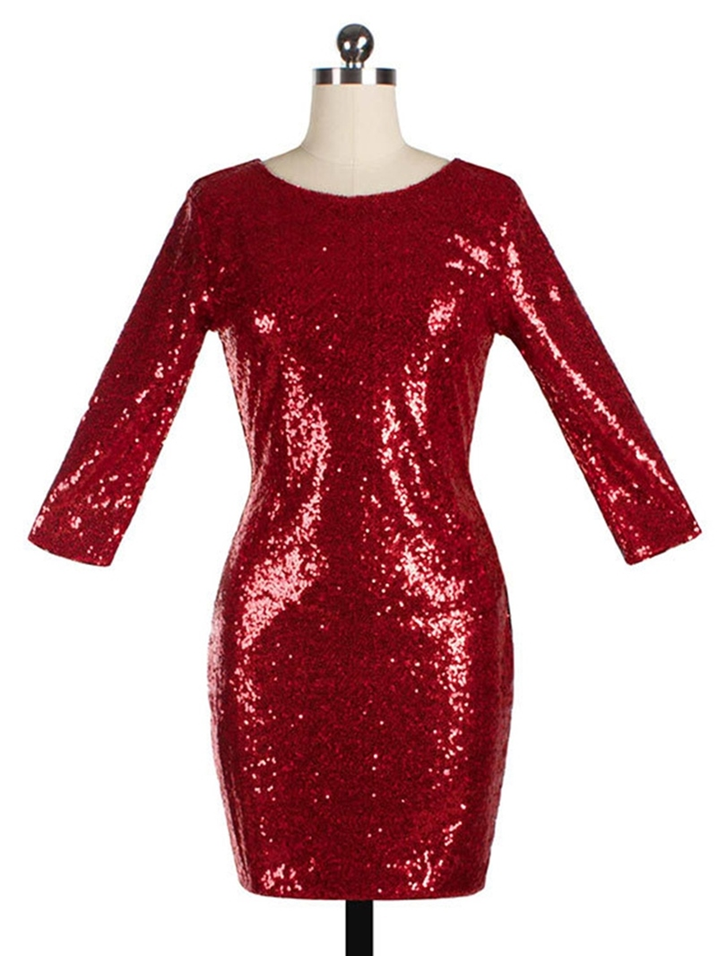 Ericdress Sequins Round Neck Long Sleeve Bodycon Dress