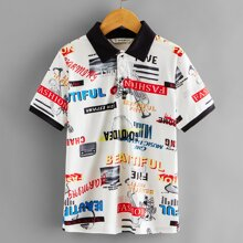 Boys Contrast Collar Letter Graphic Polo Shirt