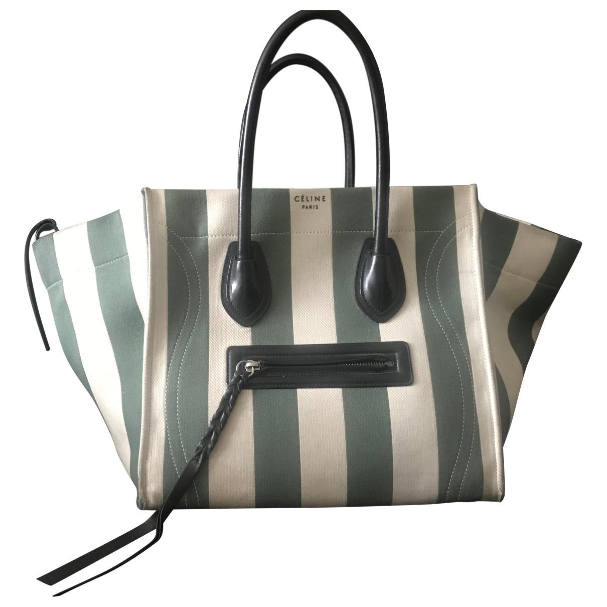 Celine - Sac a main Luggage pour femme en toile - vert