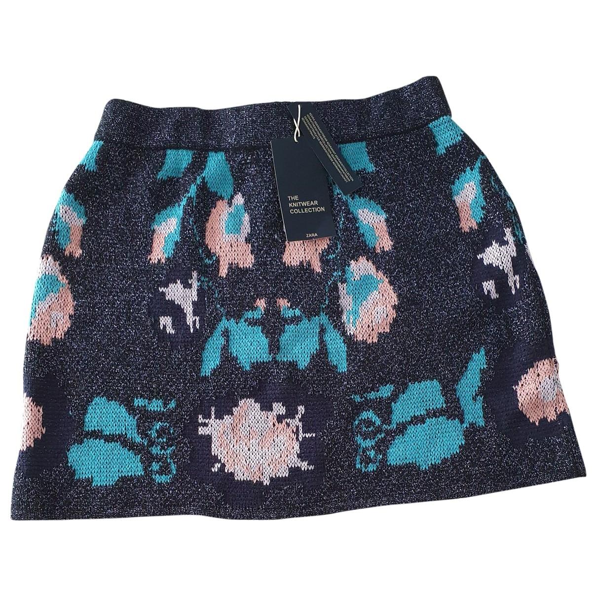 Zara - Jupe   pour femme en coton - marine