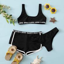 3pack Girls Letter Tape Co-ord Bikini Swimsuit