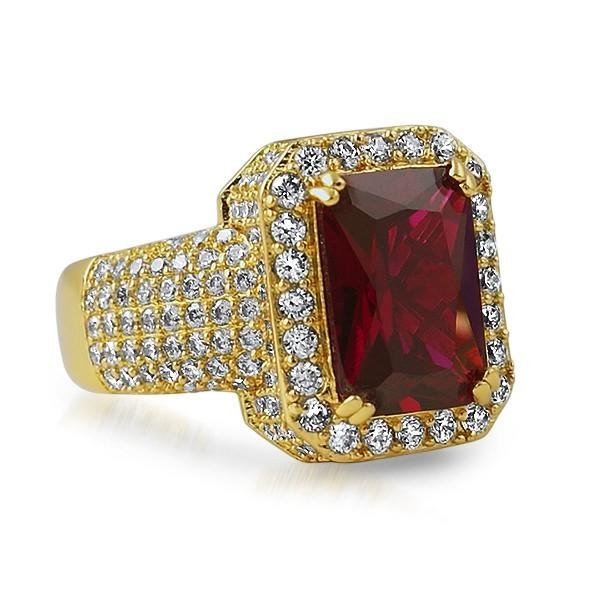 Rick Ross Style Gold Iced Out Lab Ruby Bling Ring