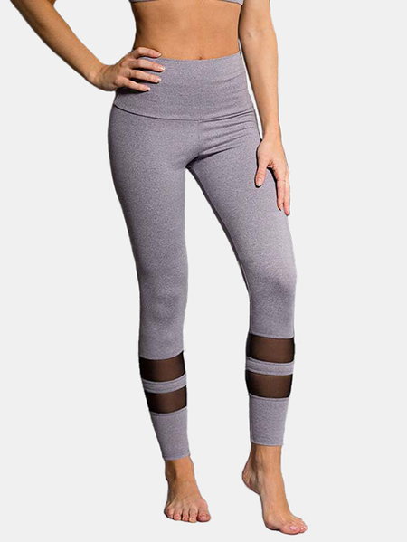 Yoins Active Net Yarn Stitching High Waisted Sports Leggings in Grey
