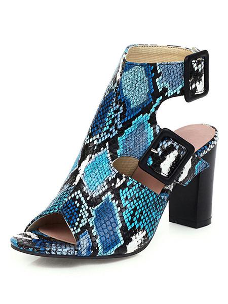 Milanoo Peep Toe Boots Snake Print Chunky Heel Backless Booties