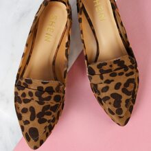 Leopard Vegan Suede Pointed Toe Flat Loafers