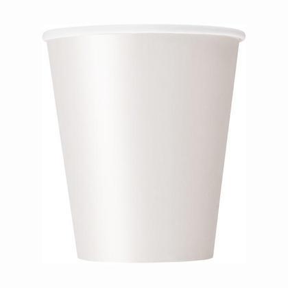 Party Paper Cup Solid Color 9oz White 8Pcs