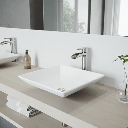 Hibiscus Collection VGT1086BN Matte Stone Vessel Bathroom Sink Set With Niko Vessel Faucet in Brushed