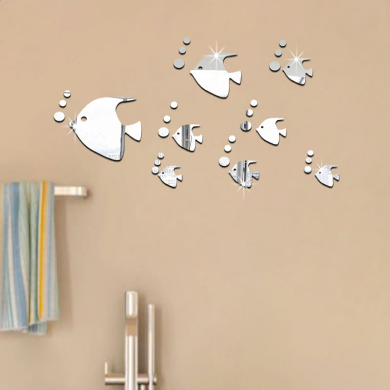 Silver/Golden Bubble Fishes Pattern Acrylic Mirror Waterproof and Eco-friendly 3D Wall Stickers